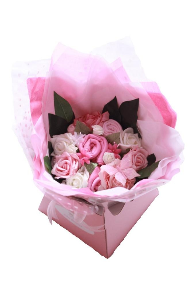 28 best baby sock bouquet images on pinterest baby sock bouquet gorgeous baby girl bouquet made from cotton clothing including bodysuit hat bib and socks cleverly rolled to look like flowers nestled within foam roses negle Images