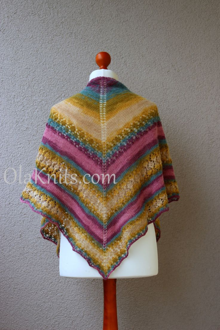 colorful trinagle striped shawl ecru green turqouise purple wrap by OlaKnits on Etsy