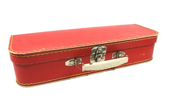 Small Red Children Suitcase Old Suitcase by VerifiedVintageNL