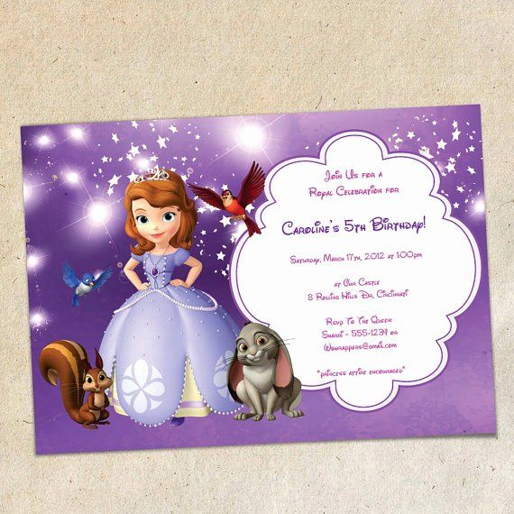 Sofia The First Invitation Template Inspirational Sofia The First Party Invitati Party Invite Template Birthday Invitation Templates First Birthday Invitations