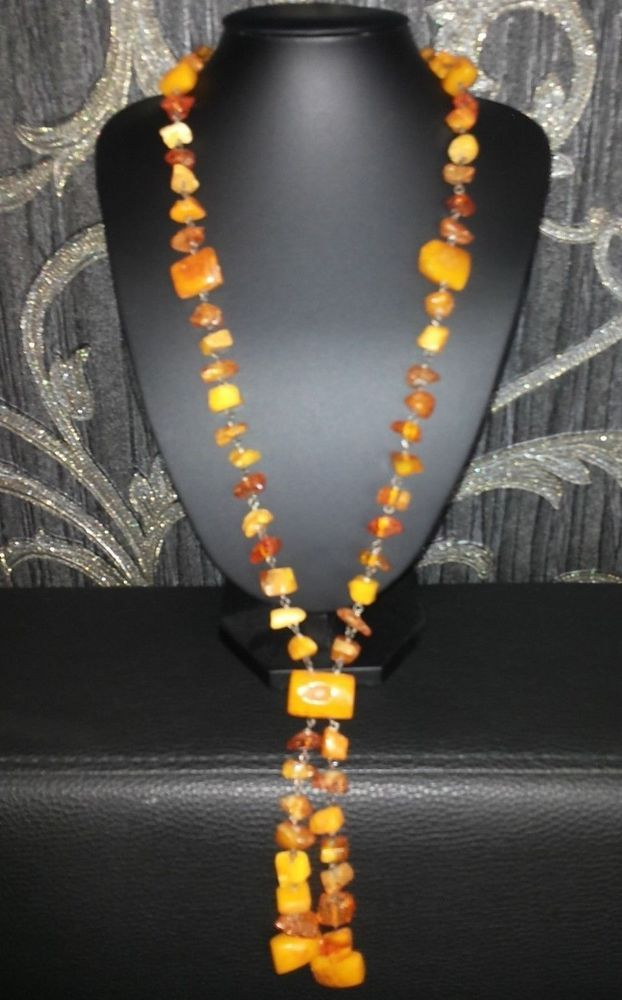 ANTIQUE VINTAGE EGG YOLK BALTIC AMBER BEADS NECKLACE #Handmade #Collar