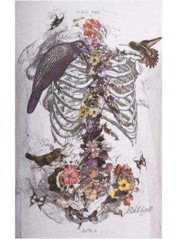 Love this for a tattoo. | Religion Clothing T Shirt Skeleton Flower in White