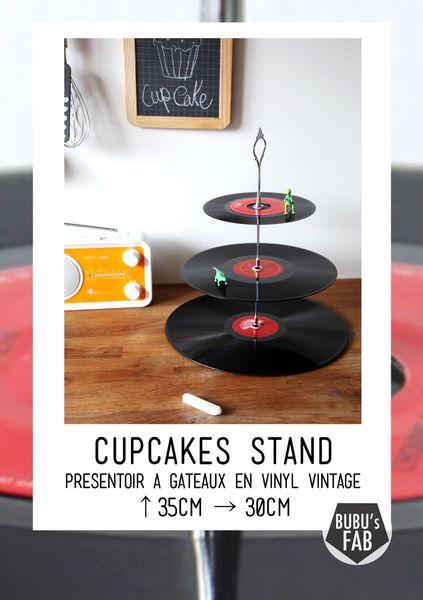 Plateaux, Présentoir à gâteaux, cupcake stand - disque vinyl est une création orginale de bubus-fab sur DaWanda