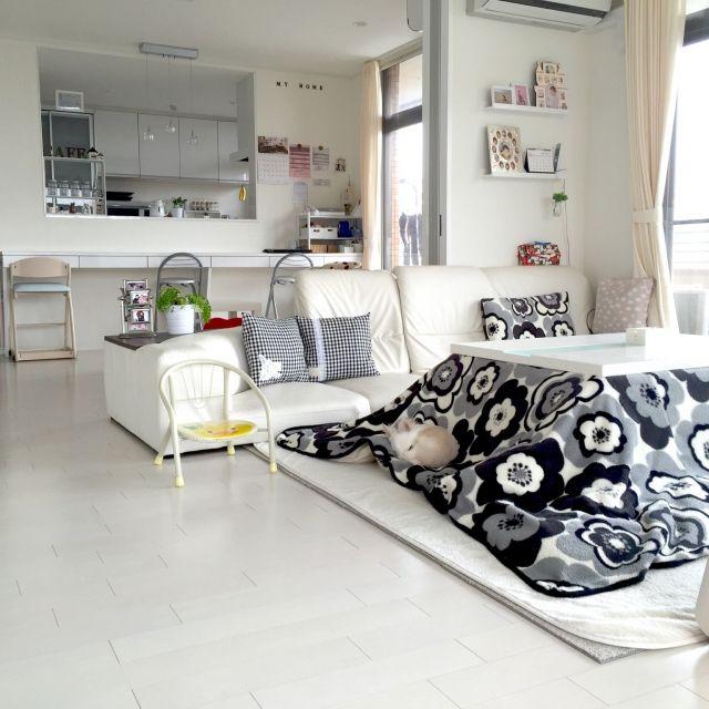 moeさんの、観葉植物,ホワイトインテリア,IKEA,こたつ,ハンドメイド,わんこ,昨年のリビング,リビング,のお部屋写真