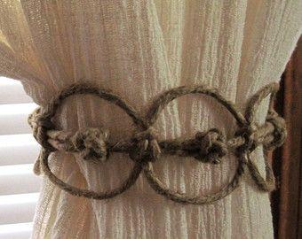 Handmade Natural Hemp Adjustable Curtain Tie Back Rope Tieback Shabby Burlap