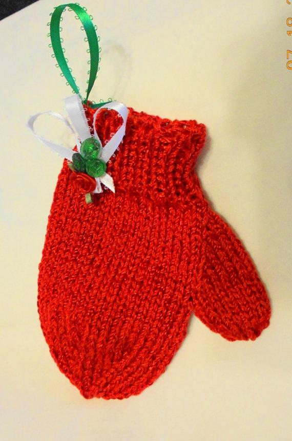 Christmas Ornament Hand Knit Mitten Gift by LeNidDuMerleHandKnit, $11.50