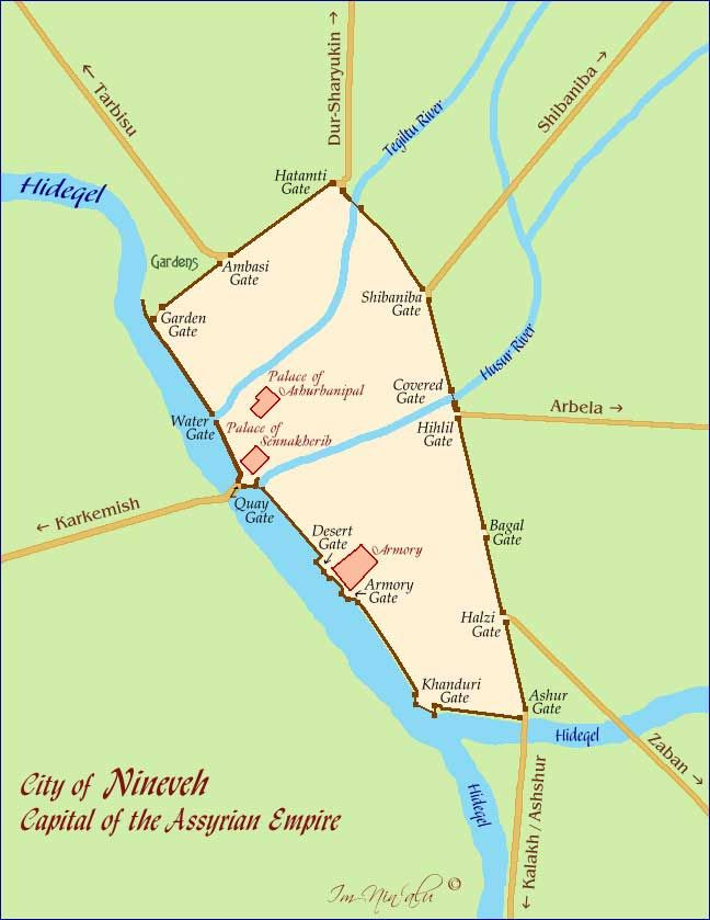 Map of the City of Nineveh, Capital of the Assyrian Empire | Jewish Virtual Library