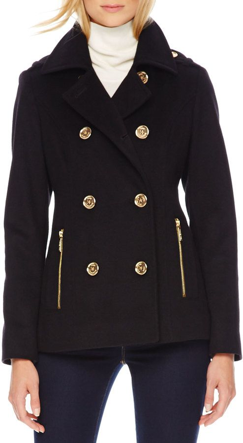 $97, Michl Michl Kors Woolcashmere Pea Coat by MICHAEL Michael Kors. Sold by Neiman Marcus. Click for more info: http://lookastic.com/women/shop_items/125904/redirect
