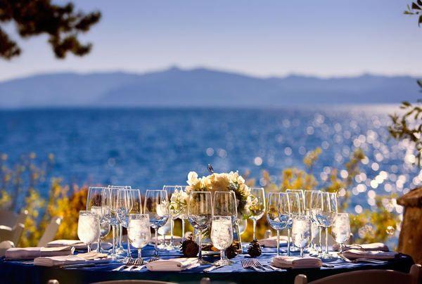 : Beautiful Lakes, Lakes Tahoe, Wedding Receptions Tables, Wedding Dreams, Wedding Photos, Beach Wedding, Receptions Area, Reception Tables, Lake Tahoe
