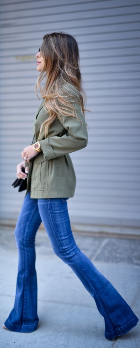 Flared jeans and military jacket