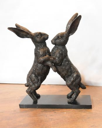 English Bronze Casting Dancing Hares Mad March Hare Statue Rabbits