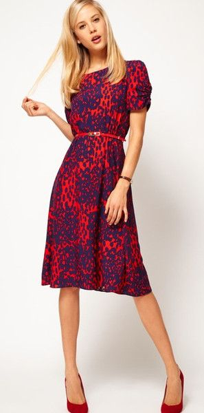 Printed Ruched Sleeve Dress