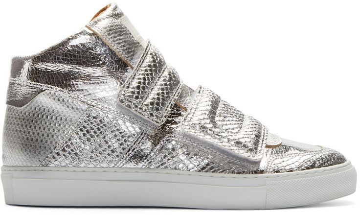 MM6 Maison Margiela Silver Leather Velcro High-Top Sneakers