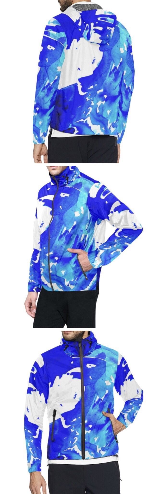 Caribbean colorful Blue and White waterfall water wave All Over Print Windbreaker for Men (Model H23 ) Fashion Designs like this jacket by @anoellejay Alicia Jones and @artsadd   Brooklyn artist featuring Environmental Beach Ocean Caribbean African designs / Go running in a design that has meaning even in the rainy cloudy weather / Also buy this artwork on other home products and accessories http://m.artsadd.com/store/anoellejay?sort=newest?rfsn=714731