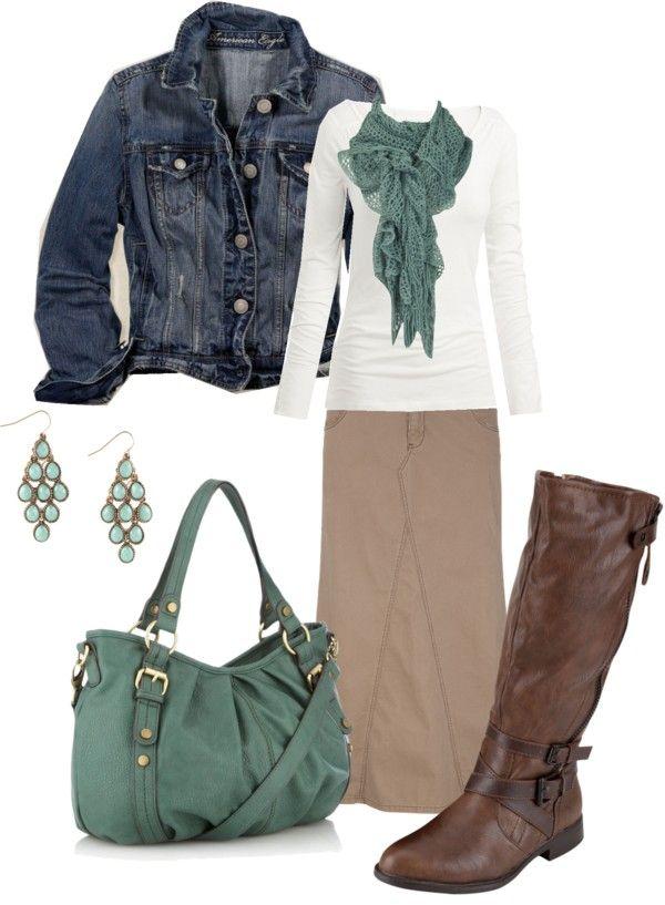 Tan skirt, Teal scarf, Denim Jacket & Boots.