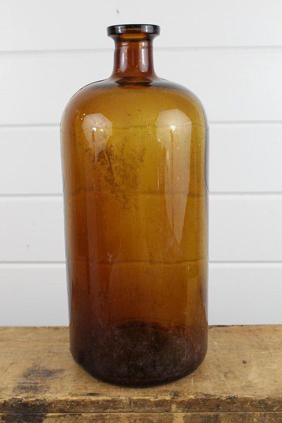 Vintage Large Amber Glass Bottle Canister Display Brown Decor