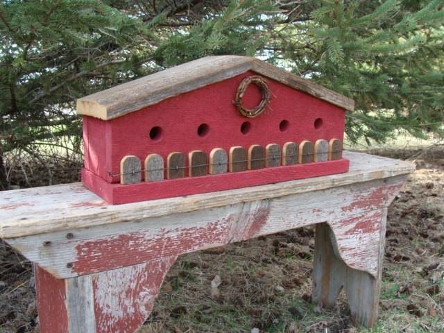 Red Birdhouse Old Barnwood Fence Farmhouse Country. $80.00, via Etsy.