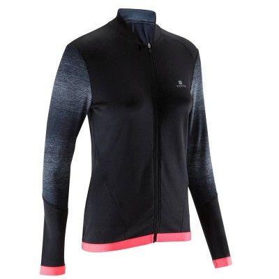 Fitness cardio Fitness, Ginnastica, Pilates - Felpa donna ENERGY+ nero-rosa DOMYOS - Abbigliamento cardio