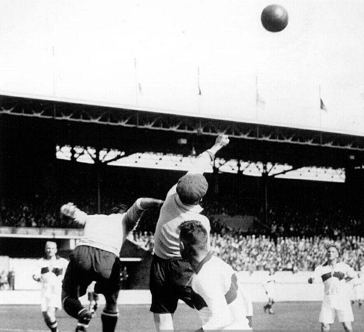 Uruguay 4 Germany 1 in 1928 in Amsterdam. Germany clear the ball against Uruguay in the group stage at the Olympic Games.