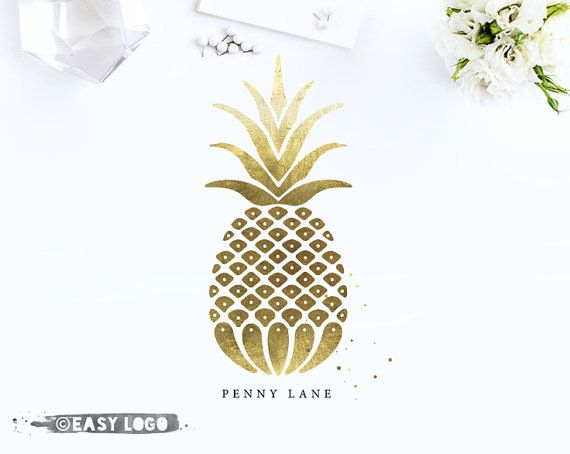 Gold Pineapple Logo. Elegant Boutique Logo. Watercolor Logo. Logo Design Premade. Logo for Sale. Custom Business Branding Kit. EL261.