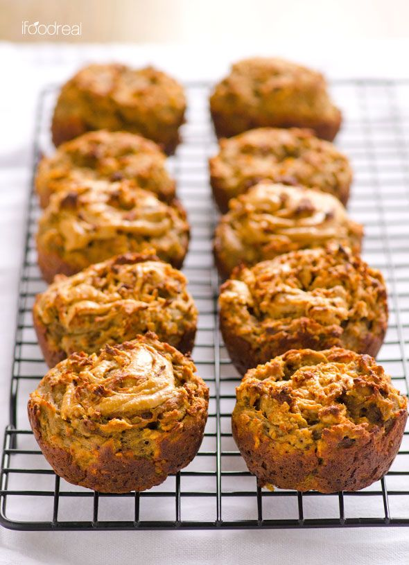 Peanut Butter Swirl Banana Protein Muffins are vegan protein muffins made with plant based protein powder, applesauce, oats, banana and peanut butter. | ifoodreal.com
