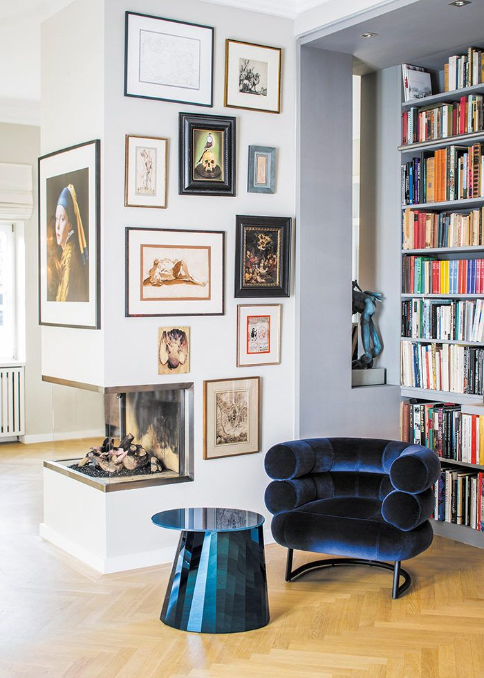 Beautiful french interior ideas and inspiration. Decorate your home like  parisian. Art wall and velvet chair.