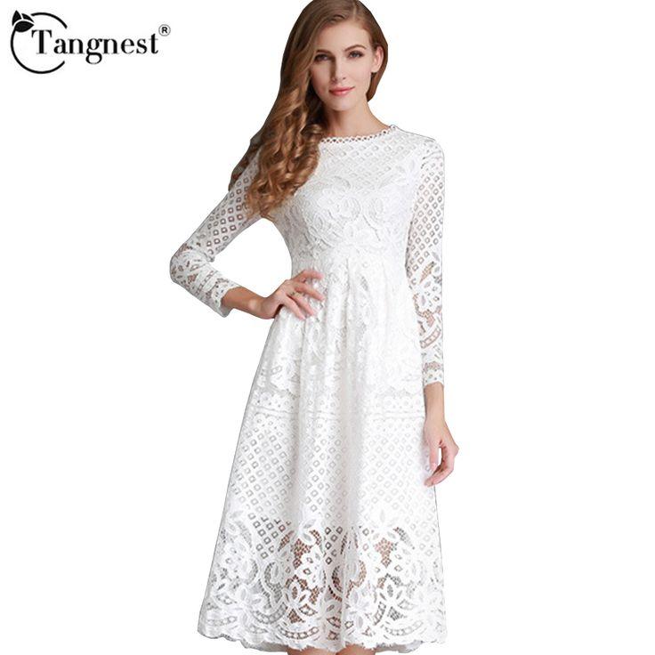 TANGNEST Женщины Кружевном Платье Лето 2017 Новый Дизайн Богемный Стиль Выдалбливают Сплошной Цвет Женской Моды Платья WQL5130 купить на AliExpress