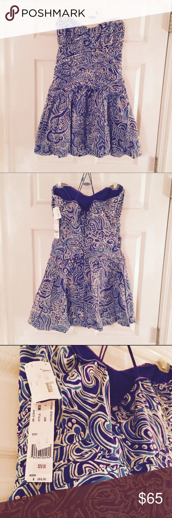 NWT Nicole Miller Strapless Party Dress Spring/Summer purple, blue, white structured sundress. Crisscross detailing in the front. Silk and cotton. Neiman Marcus Dresses Strapless