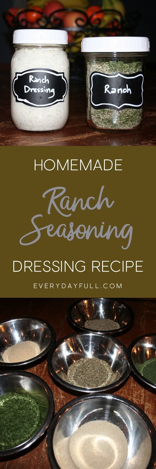 DIY RANCH SEASONING & RANCH DRESSING - Who knew homemade ranch dressing was so simple and delicious? Avoid all those additives in the store bought salad dressing brands, and make this simple dry mix ahead of time. We've added a few options for mixing up dressing or a dip.