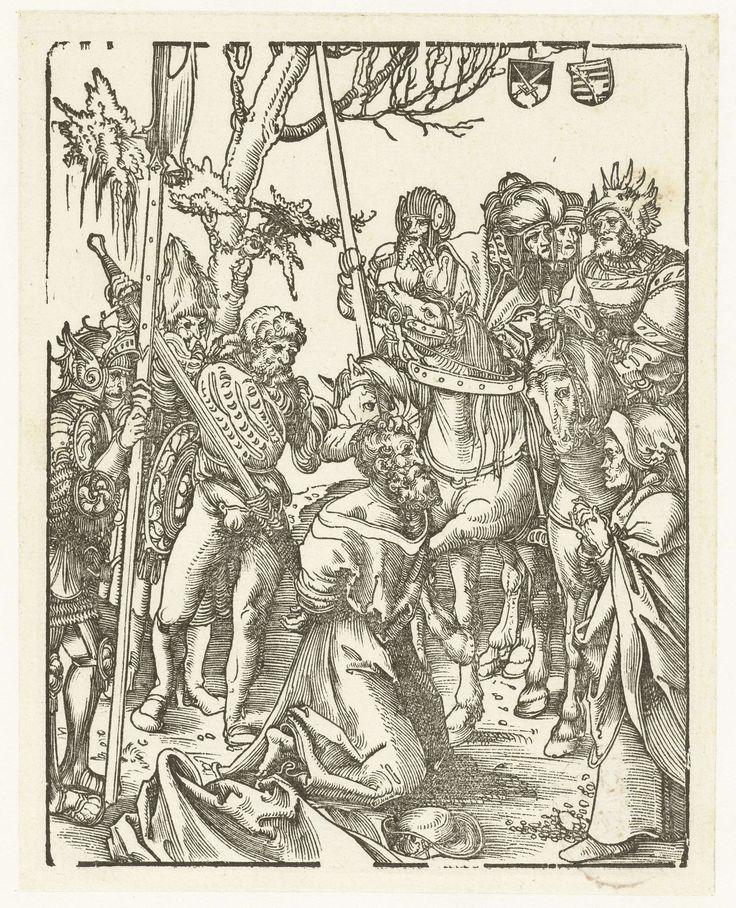 Lucas Cranach (I) | Jakobus de Meerdere wordt terechtgesteld, Lucas Cranach (I), 1510 - 1514 | Jakobus de Meerdere (Jacobus Major) wordt op bevel van Herodes Agrippa terechtgesteld. De apostel zit geknield op de grond, zijn hoofd wordt vastgehouden door de beul die zijn zwaard trekt om de heilige te onthoofden. Rechts staat Herodes met zijn gevolg te paard. Op de grond ligt de pelgrimshoed als attribuut van de heilige. Boven in de boom hangen twee schilden met het keurvorstelijk en…