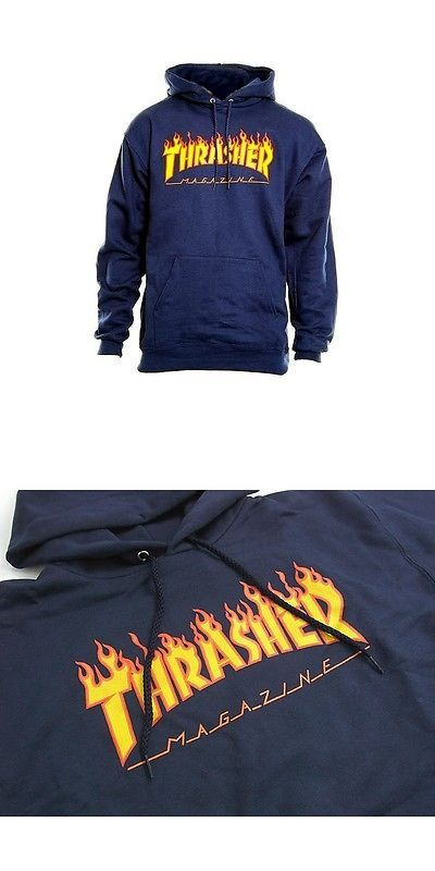 Men 159067: Thrasher Skateboard Mag Flame Logo Hoodie Pullover Sweatshirt (Navy) Small -> BUY IT NOW ONLY: $64.99 on eBay!