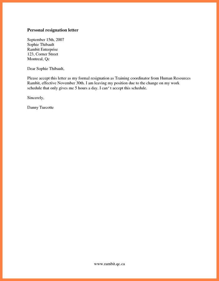 Basic Resignation Letter Examples Simple For Personal Reason Of