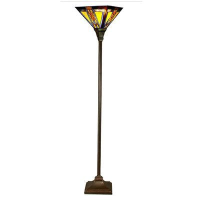"River of Goods Southwestern Mission Style Stained Glass 70"" Torchiere Floor Lamp"