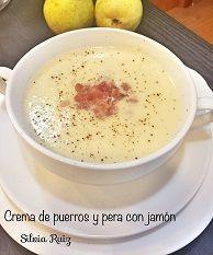 Crema de puerros y pera con jamón thermomix