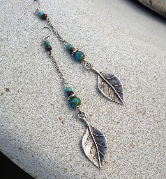 Dangle Earrings - Long, Silver, Turquoise Blue, Leaf, Tribal, Rustic, South Western, Bohemian - lunarbelle Etsy