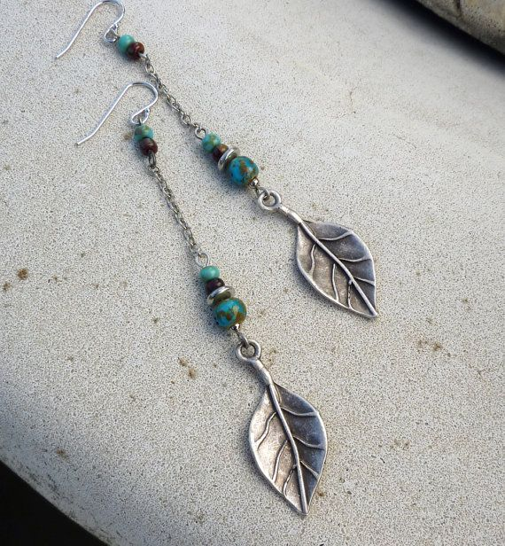 Dangle Earrings -  Long, Silver, Turquoise Blue, Leaf, Tribal, Rustic, South Western, Bohemian - lunarbelle Etsy