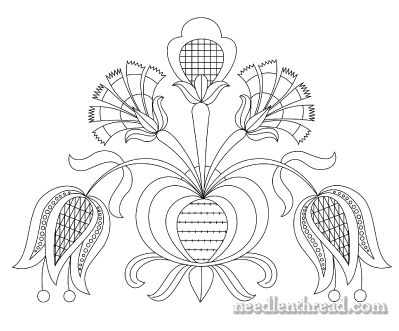 Free Hand Embroidery Pattern: Tulips & Carnations from Mary Corbet of Needle 'n Thread. Lots more!