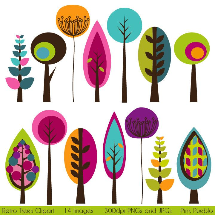 Retro Trees Clipart Clip Art, Mod Vintage Trees Clipart Clip Art - Commercial and Personal Use. $6.00, via Etsy.