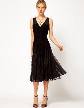 ASOS Midi Dress with Velvet Detail