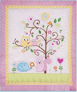 owl baby nurseries | Pink and yellow owl baby nursery crib bedding set for a baby girl
