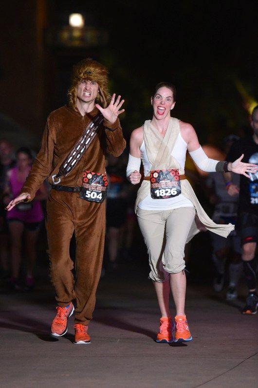 The Star Wars Half Marathon—The Dark Side is a running tour de Force around Walt Disney World. Rey and Chewbacca stormed the course runDisney style in costume.