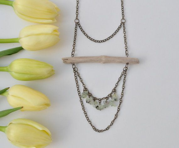 Natural Driftwood Necklace with Green Garnet Gemstone Chips. Crystal healing jewellery.Lead & nickel free antiqued brass chain.Wood Necklace. $26.99 www.etsy.com/shops/TeaAndMaple