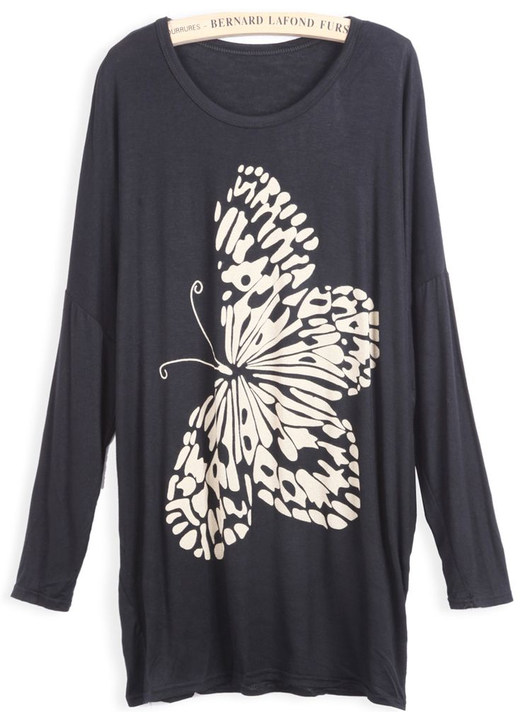 Black Long Sleeve Butterfly Print Loose T-Shirt - Sheinside.com