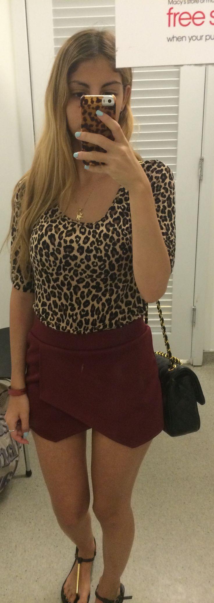 Maroon /wine Skort black Chanel purse
