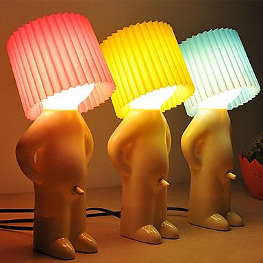 2PCS Shy Boy Design Warm White LED Table Lamp (Assorted Colors) - USD $ 44.99