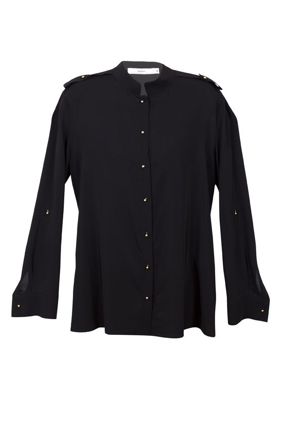 Sarar Woman's Black Blouse introduces some edge to your weekend wardrobe. March to the beat of a different drummer in strong lines and military-inspired hardware. The shirt's unique high-low collar and epaulets accentuate its slim fit, while flared sleeves slim and lengthen the torso. The sleeves can be rolled up and buttoned as well. Sumptuous fabric gives the blouse a cool, elegant look.  http://www.byariane.com.au/Sarar_Black_blouse