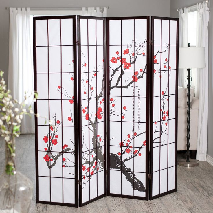 Have to have it. Cherry Blossom Rosewood 4 Panel Room Divider - $115 Home Depot
