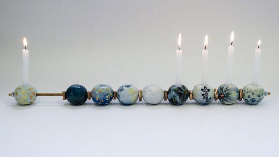 Blue Hanukkah Menorah Hand Made Menorah by GaiasBEADSandBAGS
