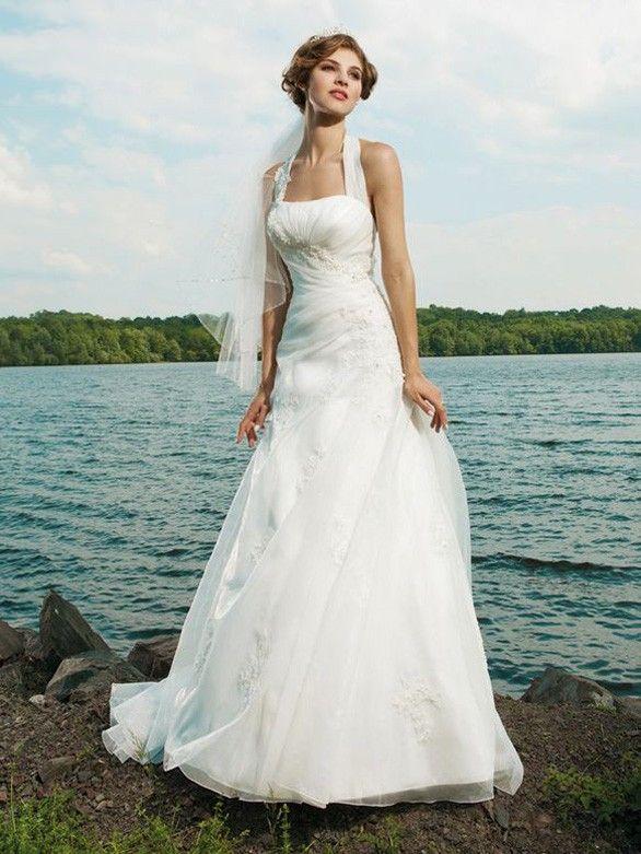 Sexy Brautkleid A-Linie rückenfrei mit Neckholder