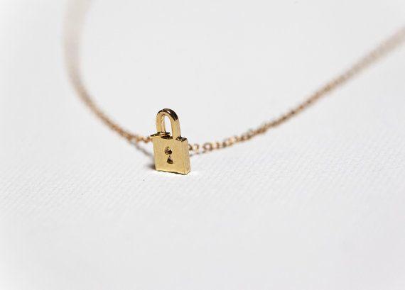 Tiny Lock Necklace Dainty Necklace Dainty Jewelry by MinimalVS